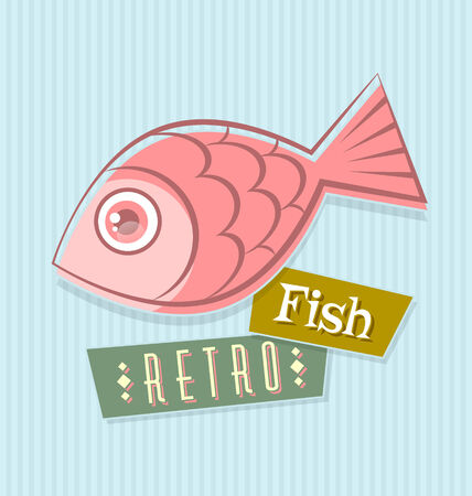 herring: Retro fish illustration on striped blue background
