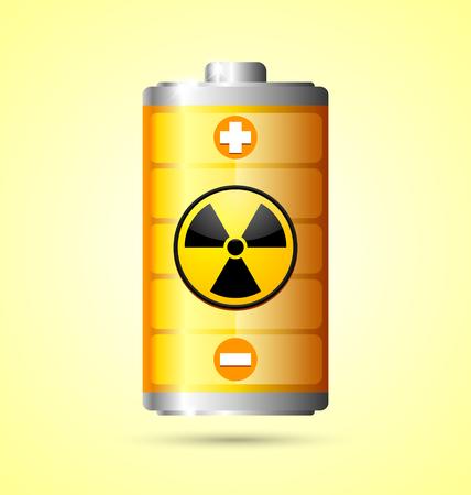 Nucleare icona della batteria di energia su sfondo giallo Archivio Fotografico - 28460392