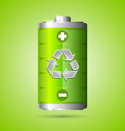 Recycled energy battery icon on green background Vettoriali