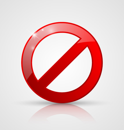no icon: Red and glossy prohibition sign on pale grey background