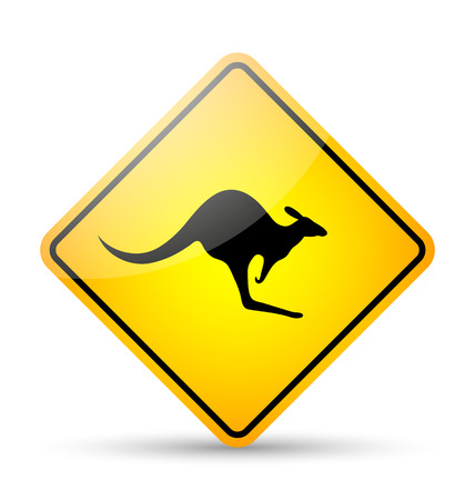 Glossy kangaroo road sign in yellow and black style on white background Vector