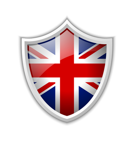 Glossy British shield icon isolated on white background Vector