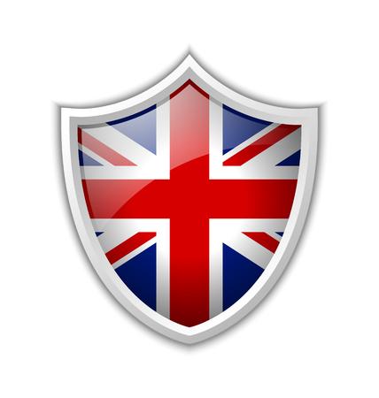 bandera de gran bretaña: Icono brillante escudo británico aislado en el fondo blanco Vectores