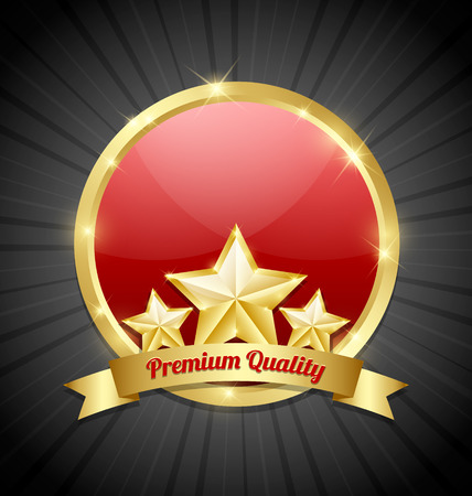 big top: Three golden stars symbol with Premium quality ribbon and glossy plaque in the background