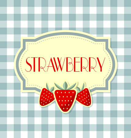 Strawberry label in retro style on squared background Vector