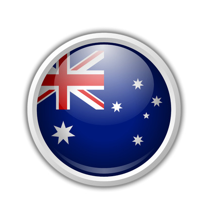 australian flag: Australian circular badge with shadow on white background