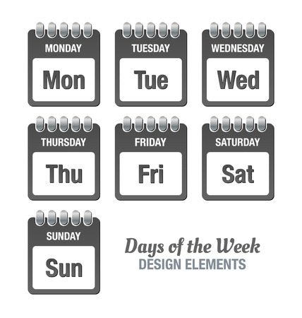 Dark grey icons with titles of days of the week isolated on white background Çizim