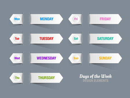 red ribbon week: White paper stripes with titles of days of the week inserted into dark background