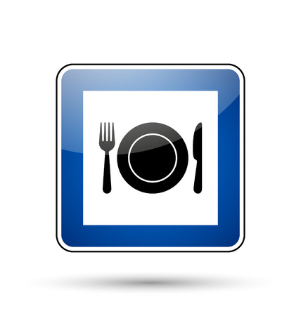 flatware: Glossy restaurant road sign in European style on white background