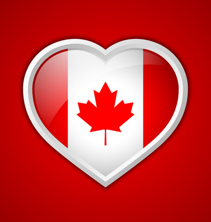 Canadian heart shaped badge or icon with shadow on red background Vector