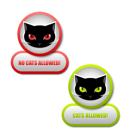 pussy cat: Cats allowed and no cats allowed permission icons Illustration