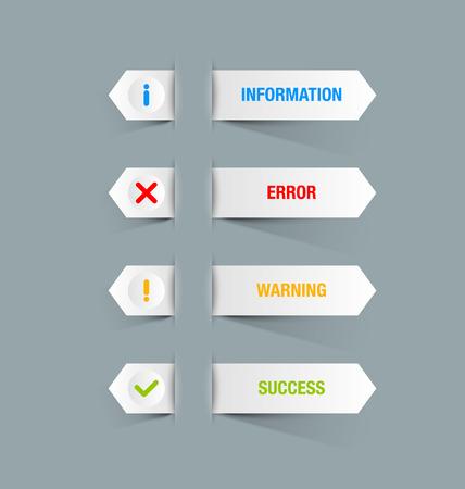 알림: 사용자 정의 웹 디자인 및 컴퓨터 목적에 적합한 알림 아이콘과 버튼