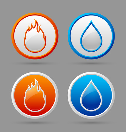 damp: Glossy fire and water icons on grey background