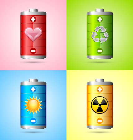depicted: Various types of energy depicted by battery icons Illustration
