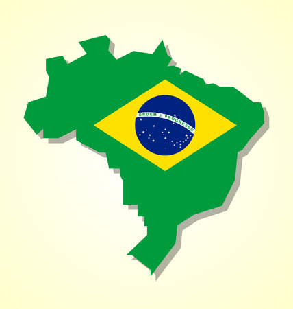 homeland: Brazil map with brazilian national flag inside of shape isolated on pale yellow background Illustration