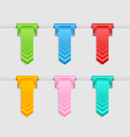hung: Vertical folded bookmarks or buttons hung on the edge of pale grey background Illustration