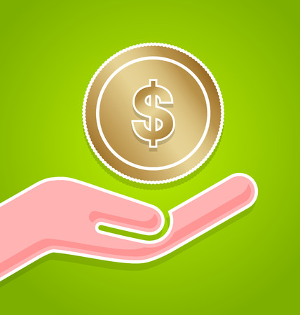 Saving money icon with hand on green background Vector