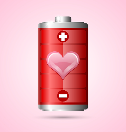 Power of love energy battery icon on pink background Vettoriali
