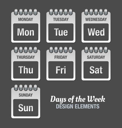 weekly planner: Pale grey icons with titles of days of the week isolated on dark background