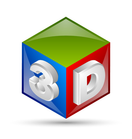 Three dimensional cube placed on white background Vector