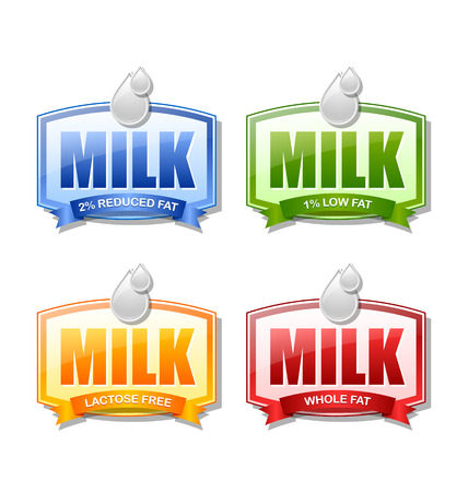 depict: Four glossy milk labels that depict different types of milk