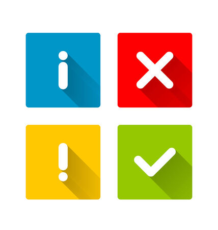 Notification icons with long shadow suitable for custom web design and computer purposes
