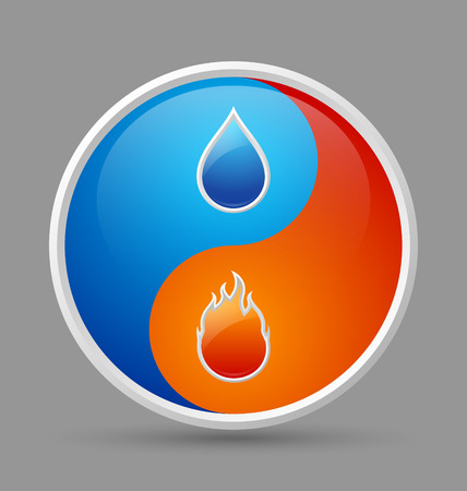 Glossy fire and water yin yang icon on grey background Vector