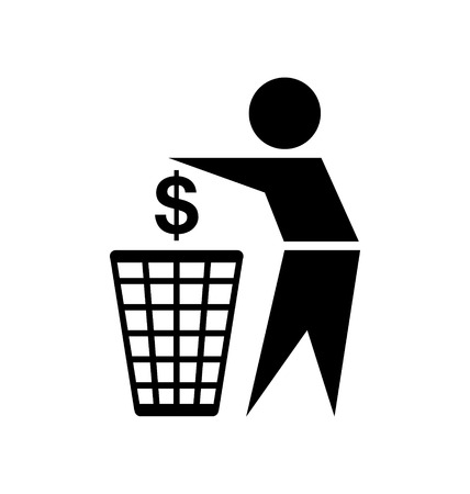 Do not waste your money icon on white background Vector