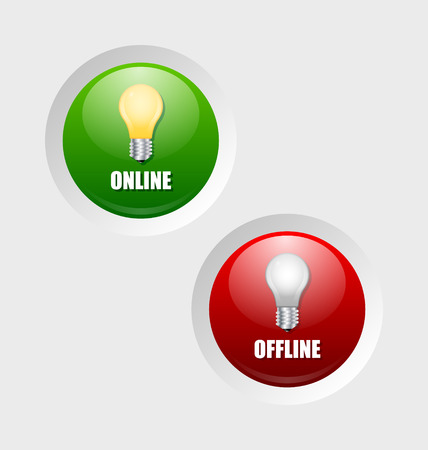 offline: Glossy online and offline icons on pale grey background