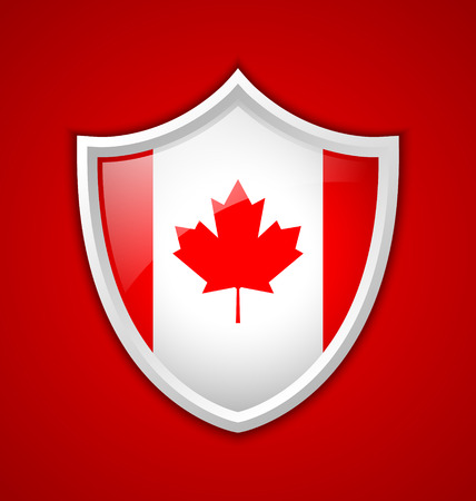 canadian flag: Canadian shield shaped badge or icon with shadow on red background Illustration
