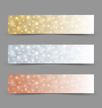 Golden, silver and bronze glittering banners on grey background Vector