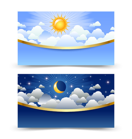 Day and night cards or banners isolated on white background
