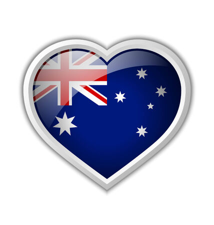 Australian heart shaped badge or icon with shadow on white background Vector