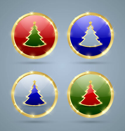 plain postcards: Golden Christmas tree icons on pale background