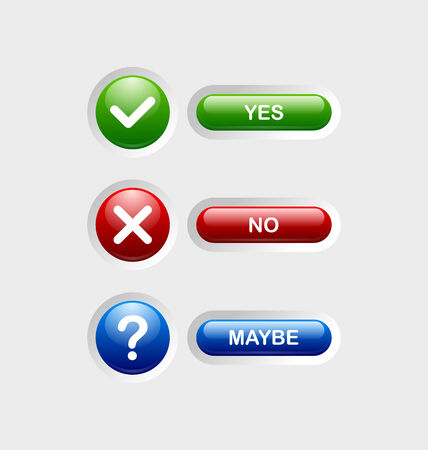 Yes, no, maybe icons with buttons isolated on pale grey background Vector