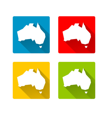 Australia icons in long shadow style on white background