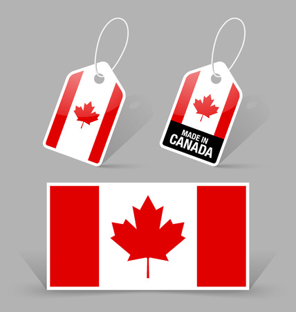 canadian icon: Canadian flag and sale tags on grey background