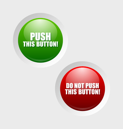 Glossy push and do not push buttons sunken in pale background surface Vector