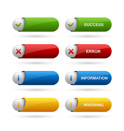 proclamation: Glossy notification buttons suitable for custom web design and computer purposes
