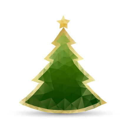 plain postcards: Simple Christmas tree in triangular style isolated on background Illustration