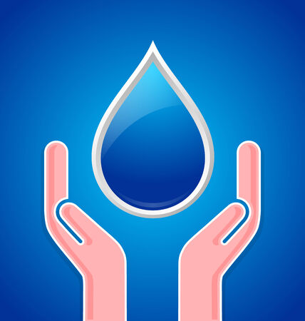 caring hands: Caring hands with water drop on blue background