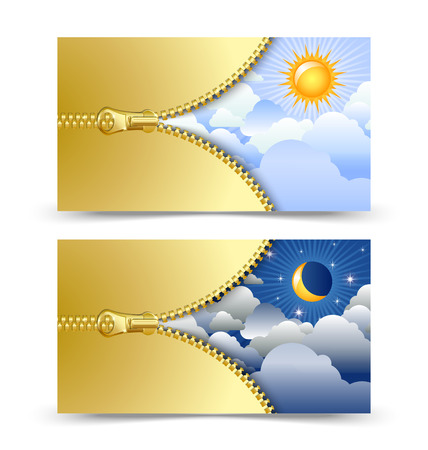 unzipped: Day and night cards or banners with golden unzipped zipper isolated on white background
