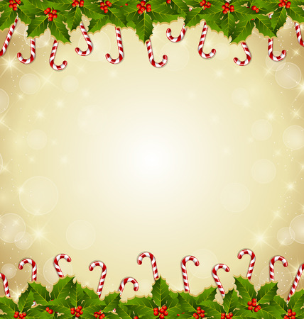 spearmint: Holly and candy canes traditional Christmas decoration on starry background