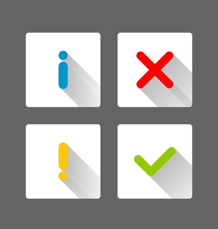 accepted: Notification icons with long shadow suitable for custom web design and computer purposes