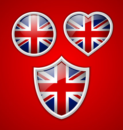 Glossy British icons isolated on red background Vector