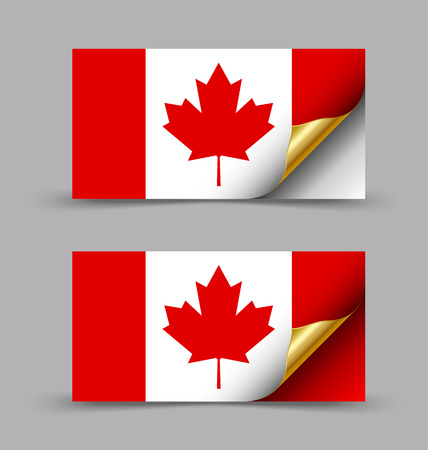 Canadian flag with golden curled corner on grey background