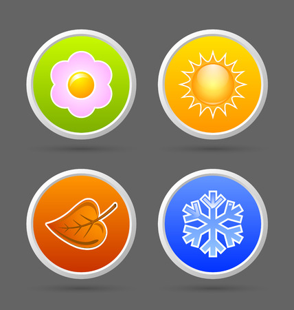 four season: Colorful four season icons isolated on dark grey background