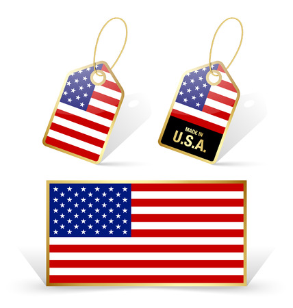 American flag and sale tags on white background