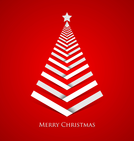 Simple Christmas tree made from white stripes with star on top Vector