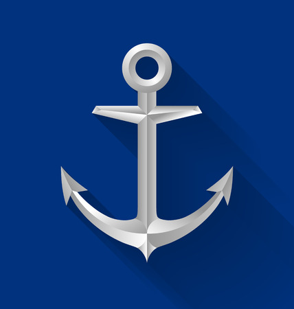 water anchor: Nautical anchor icon with long shadow on blue background